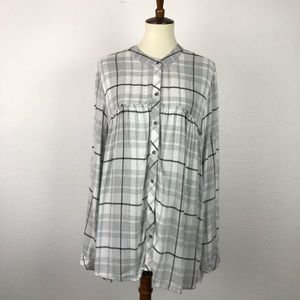 Cloth & Stone Plaid Raw Trim Tunic Top T409